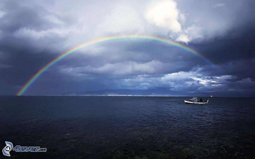 tęcza, morze, łódka, chmury