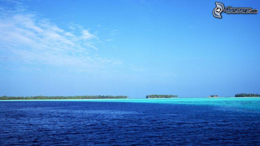 tropikalne morze, Tahiti, wybrzeże, ocean