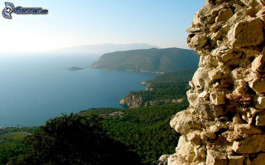widok na morze, wybrzeże, ruiny, las