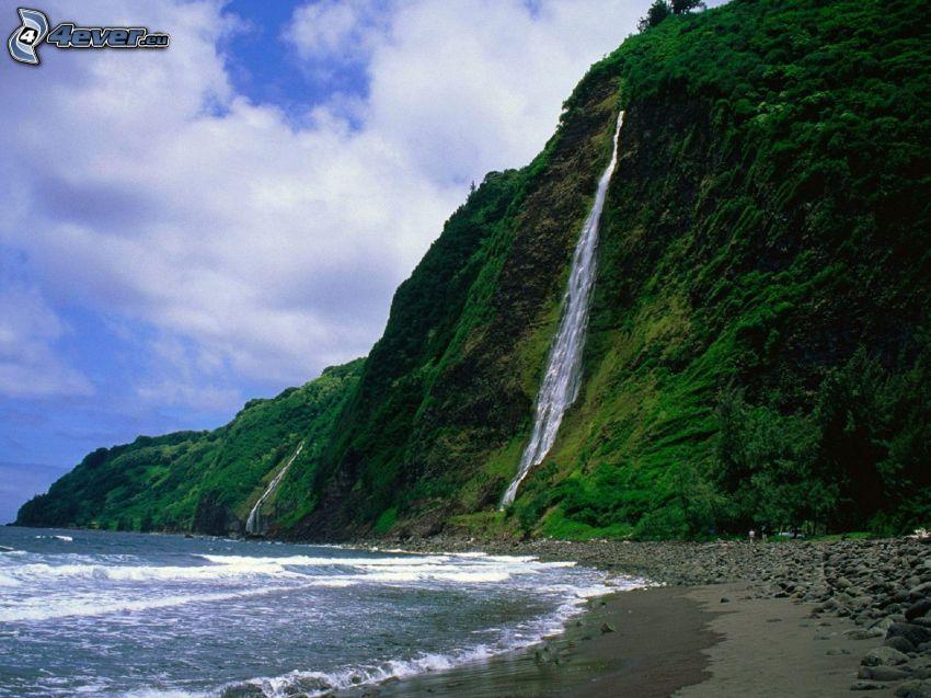 wodospad, Hawaje, góra, morze, skalisty brzeg