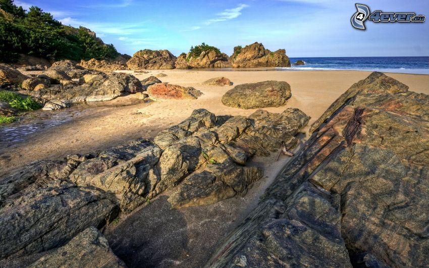 wybrzeże, kamienie, morze, HDR