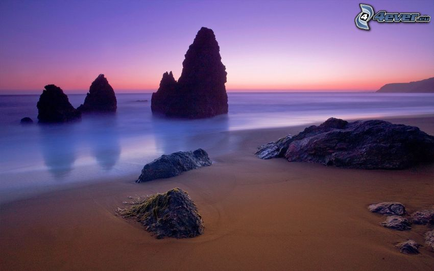 wybrzeże, morze, kamieniste nadbrzeże