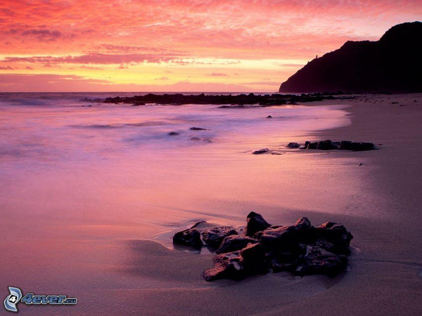 wybrzeże, morze, pomarańczowe niebo