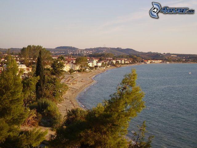 wybrzeże, plaża, morze, drzewa, domy