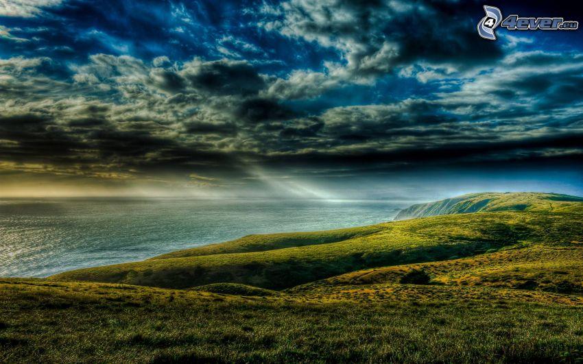 wybrzeże, wieczór, chmury