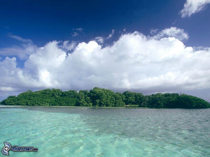 wyspa, las, chmury, morze