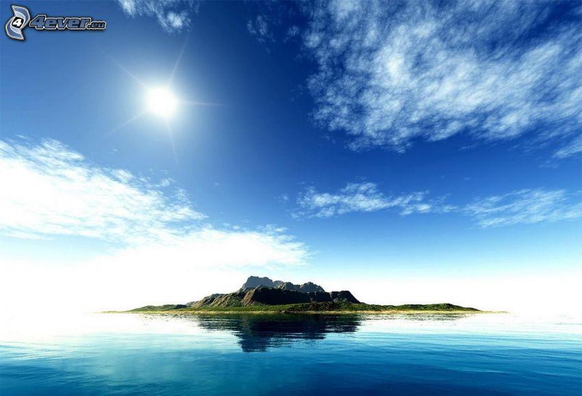 wyspa, morze, słońce