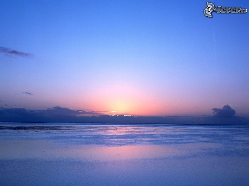 Zachód słońca nad morzem, ocean, wybrzeże, Tahiti