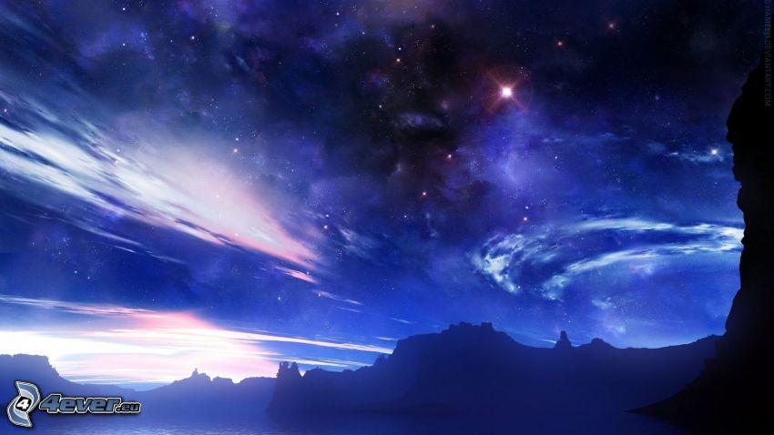 niebo w nocy, gwiazdy