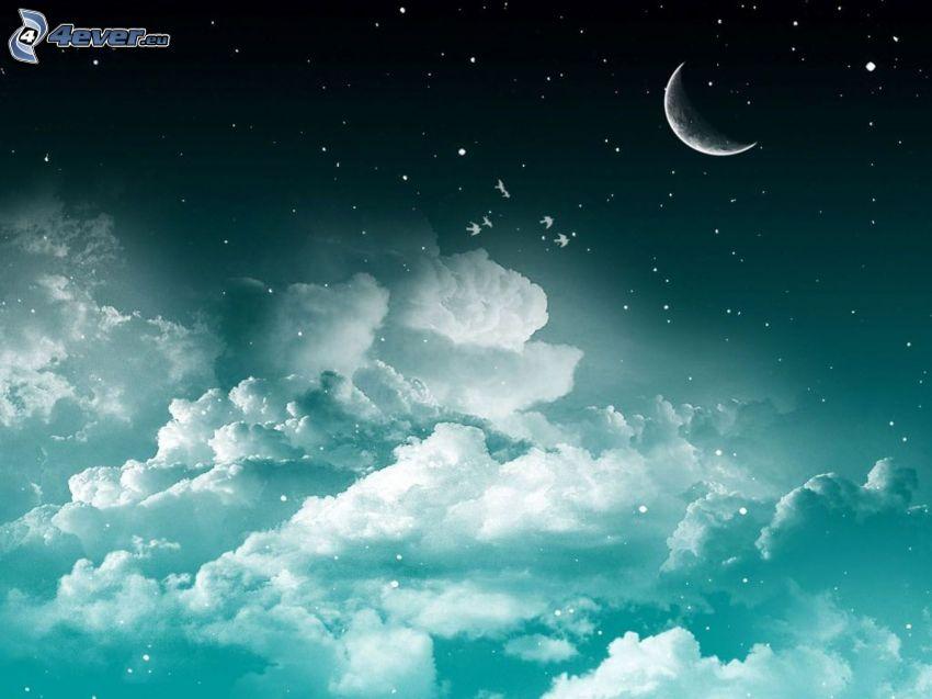 niebo w nocy, księżyc, chmury, gwiazdy