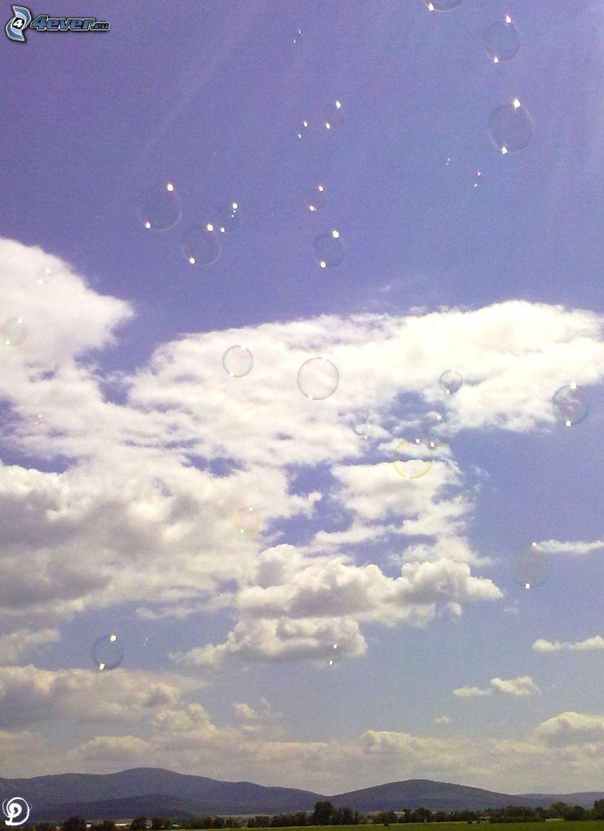 bąbelki, niebo, krajobraz