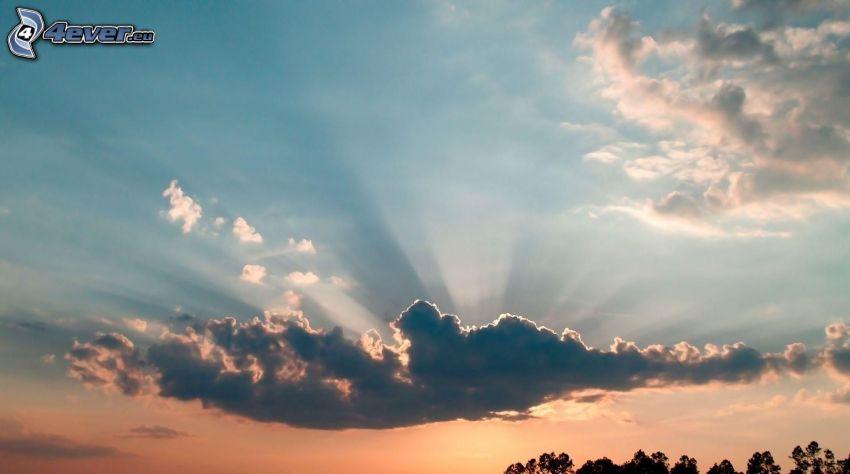 chmura, promienie słoneczne