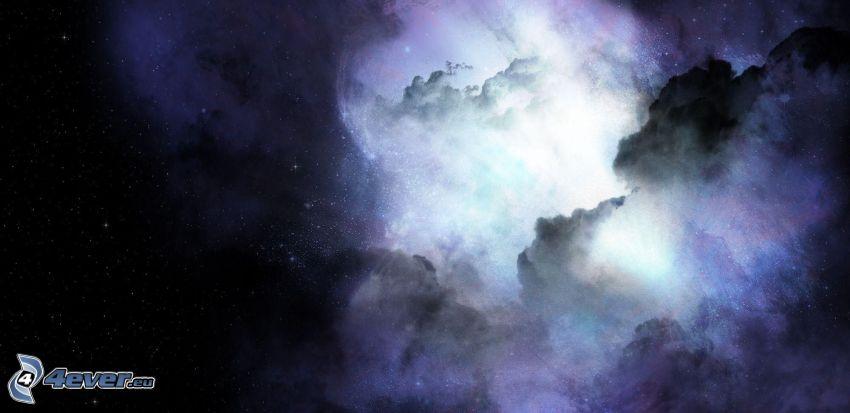 chmury, noc, gwiaździste niebo