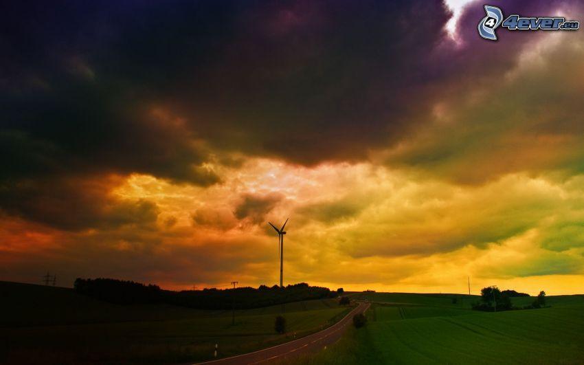 chmury burzowe, elektrownia wiatrowa, żółte chmury, prosta droga, pole