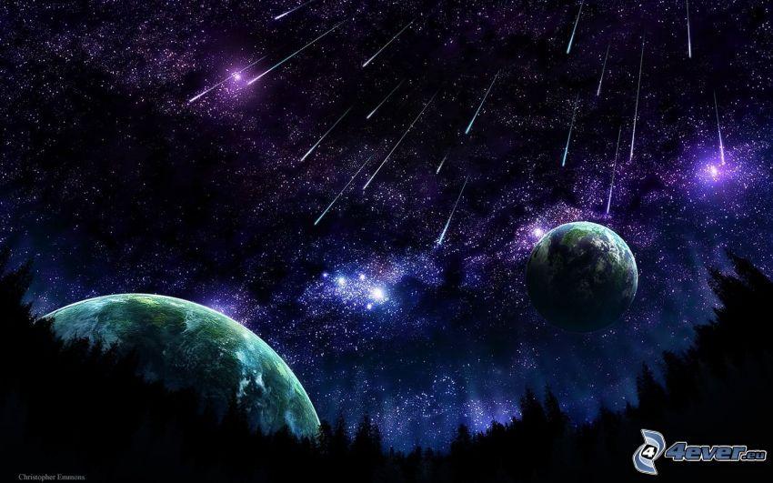 deszcz meteorytów, spadające gwiazdy, planety, gwiaździste niebo
