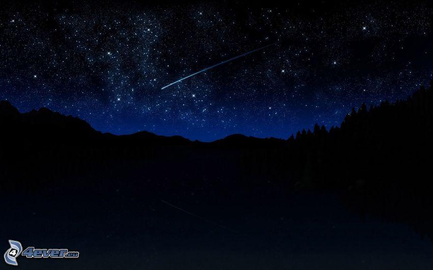 gwiaździste niebo, spadające gwiazdy, noc