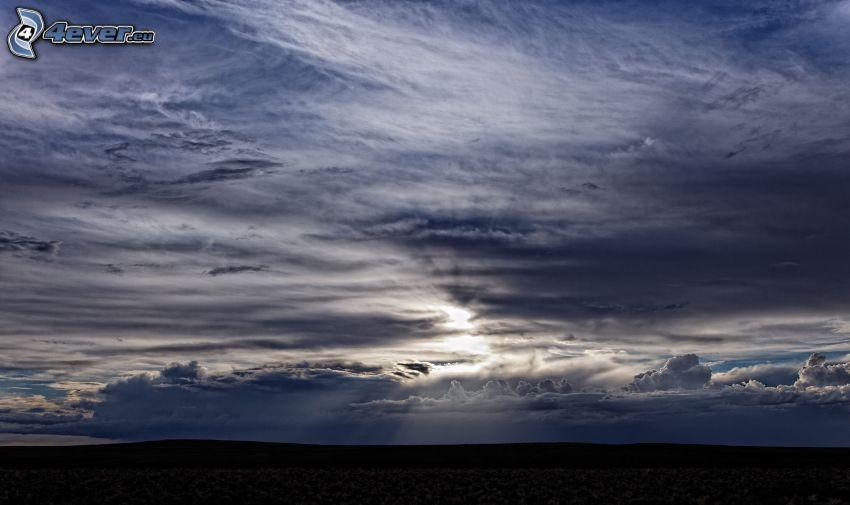 niebo, chmury, horyzont