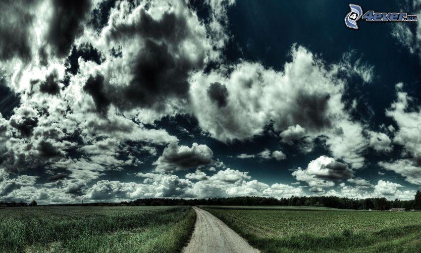 polna droga, chmury