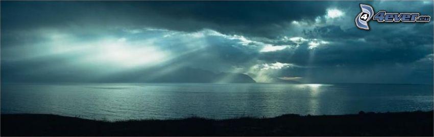 promienie słoneczne, Islandia, chmury, morze, światło