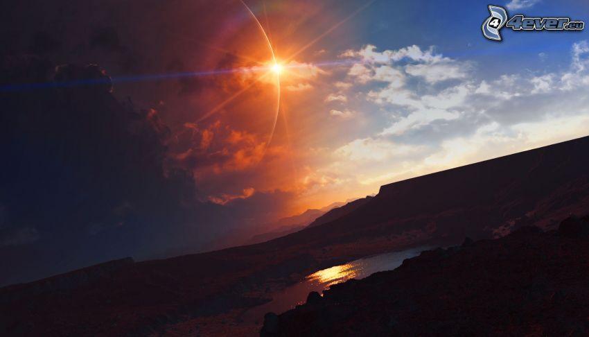 słońce, chmury, jezioro