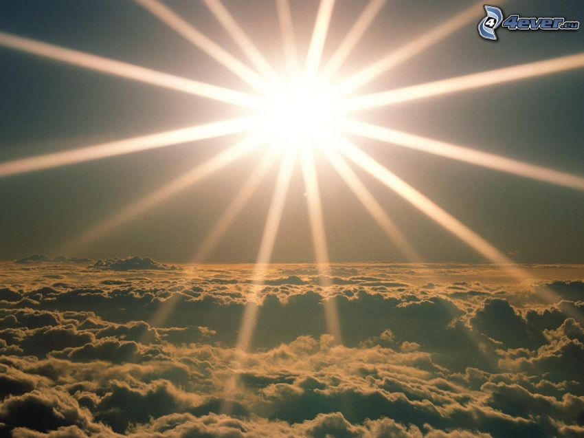 słońce, promienie słoneczne, ponad chmurami