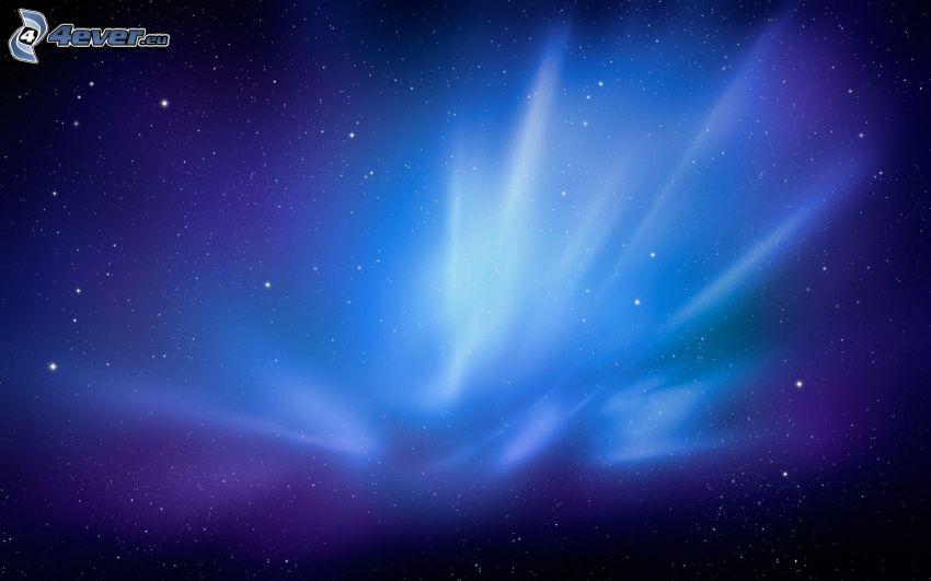 zorza polarna, gwiaździste niebo