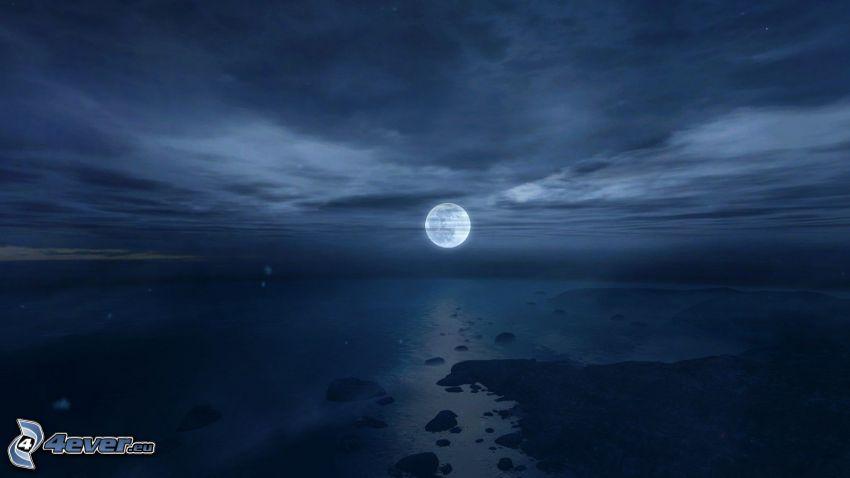 noc, pełnia, księżyc, morze