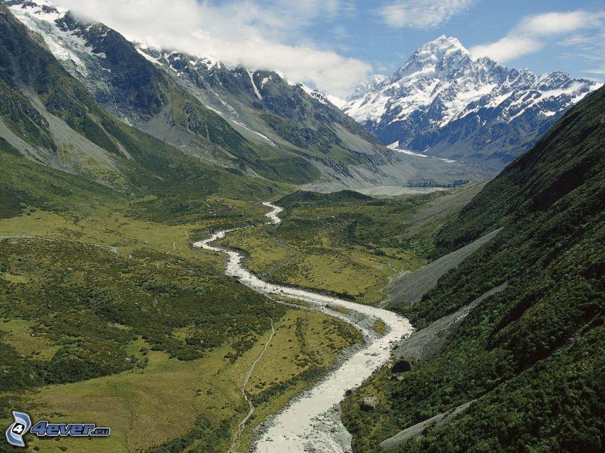 Nowa Zelandia, zaśnieżona góra, góry, dolina