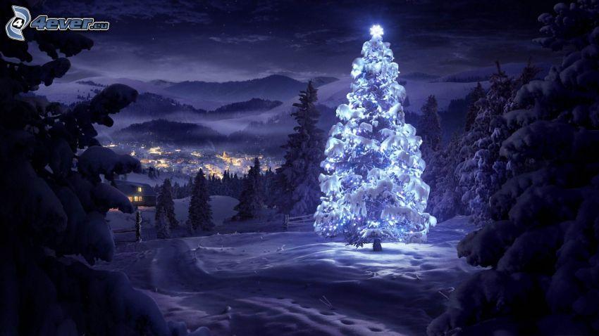 oświetlone drzewo, noc, dolina, miasto, śnieżny krajobraz