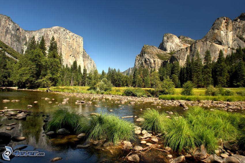 Park Narodowy Yosemite, El Capitan, dolina, rzeka