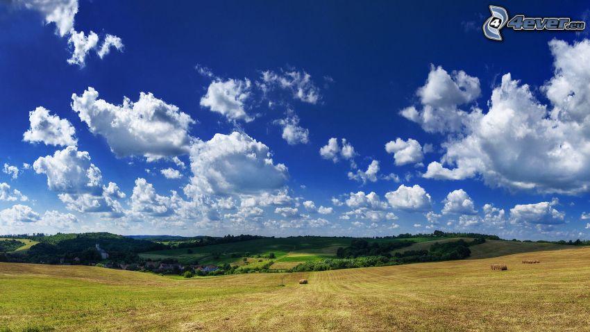pole, chmury