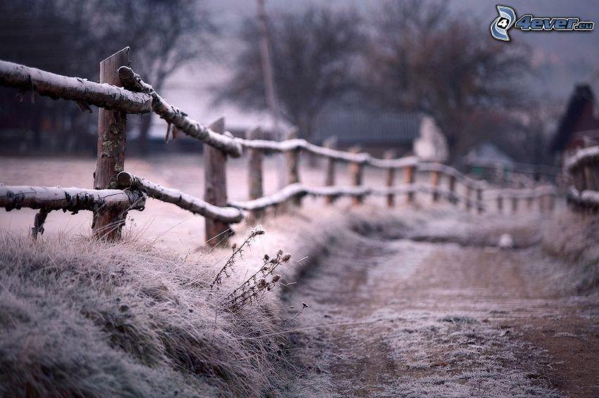 polna droga, drewniany płot, szron