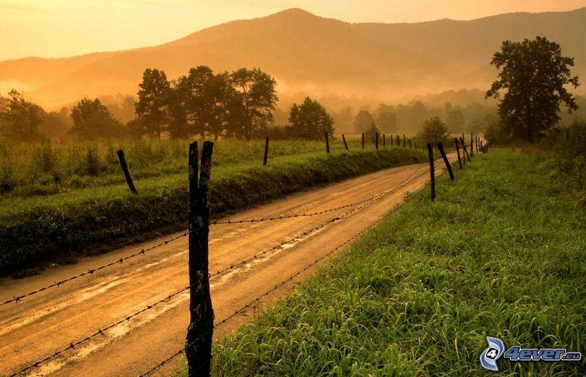 polna droga, ogrodzenie z drutu, niebo o zmroku, drzewa, mgła, pasmo górskie