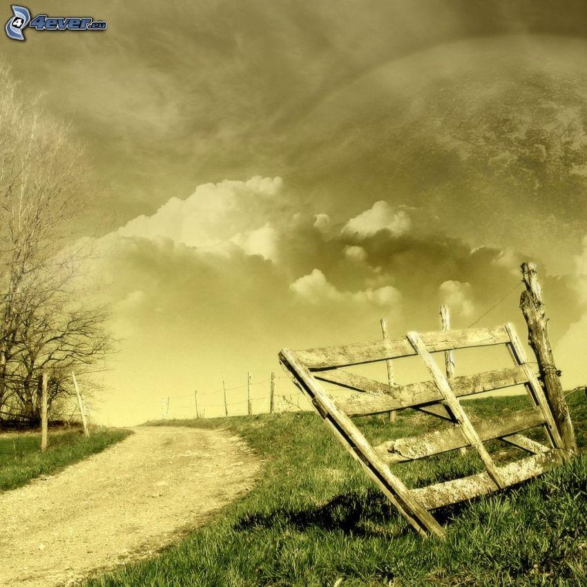 polna droga, płot, chmury, sepia