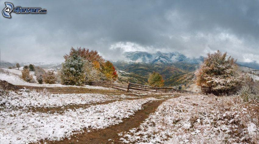 polna droga, śnieg