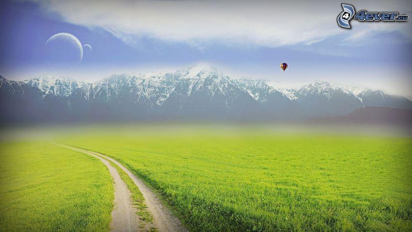 polna droga, trawa, zaśnieżone góry, księżyc, latający balon