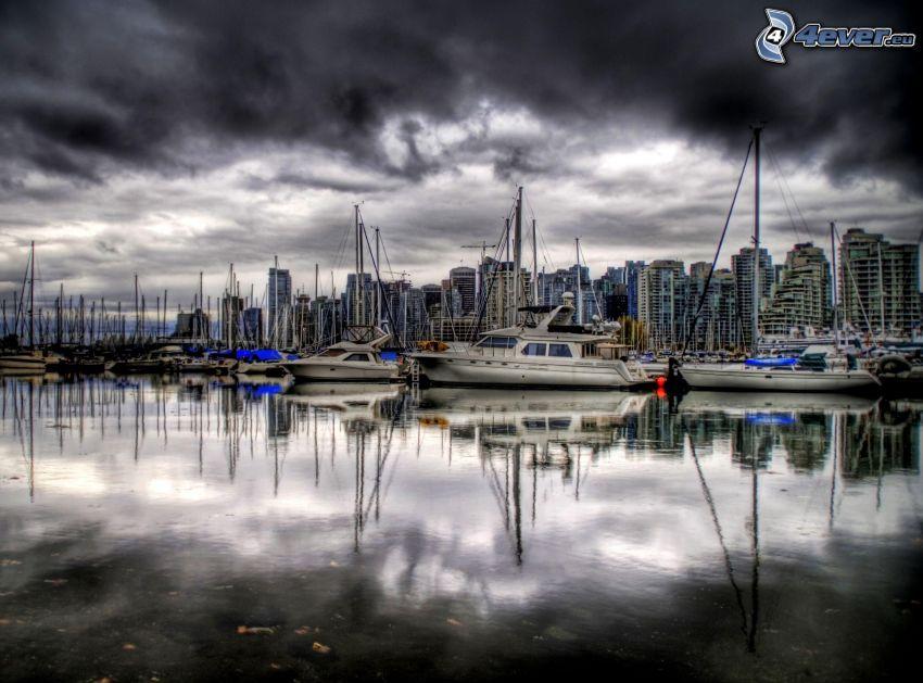 port, statki, woda, chmury, HDR