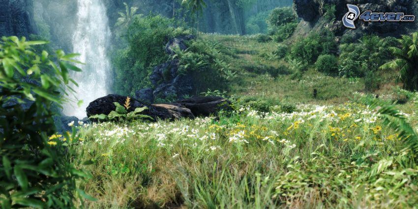 przyroda, wodospad, żółte kwiaty, zieleń