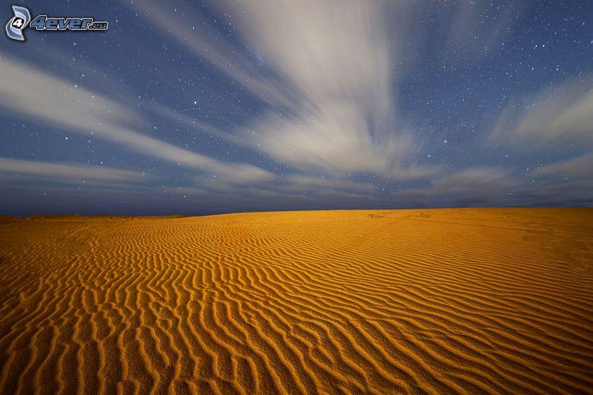 pustynia, gwiaździste niebo