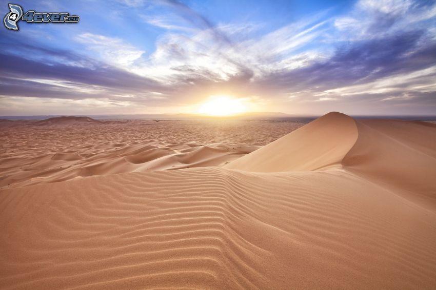 pustynia, zachód słońca