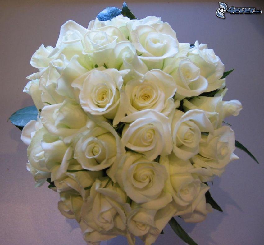 białe róże, bukiet róż