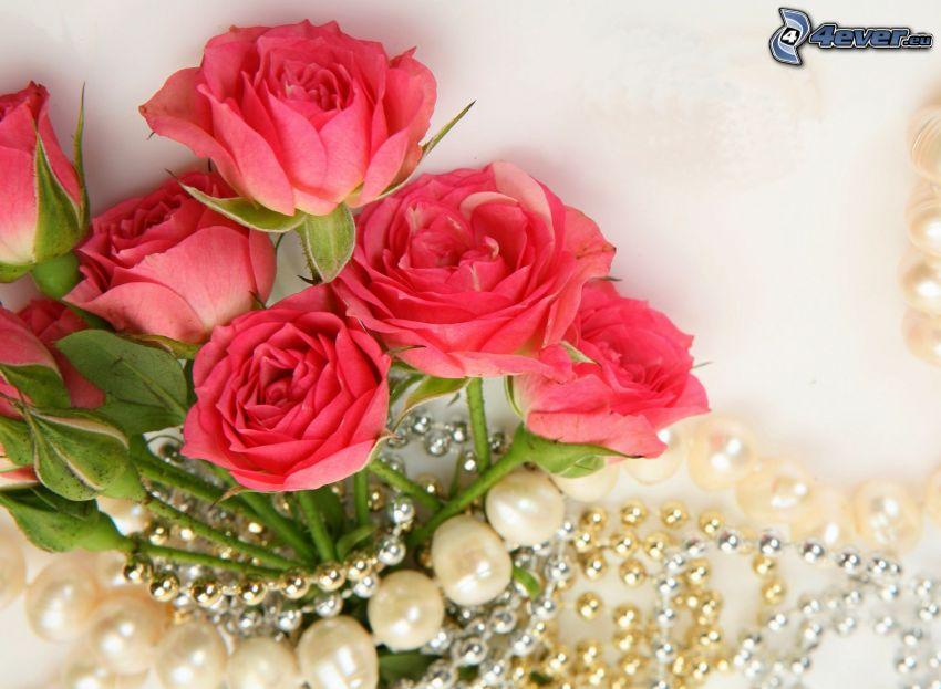 bukiet róż, perły