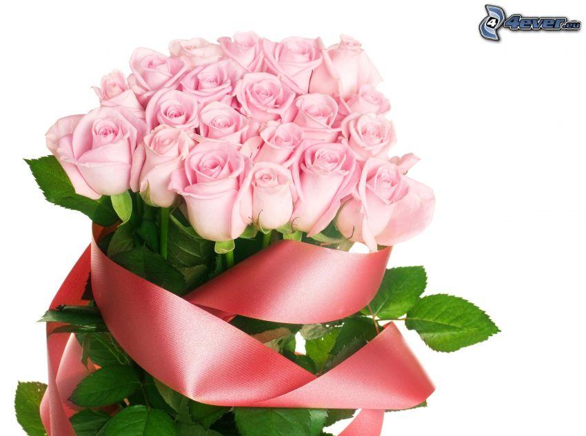 bukiet róż, różowe róże, wstążka