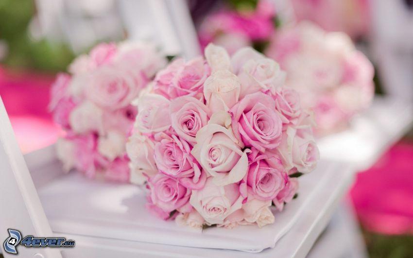 bukiet ślubny, różowe róże