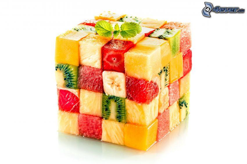 kostka, owoc, truskawki, kiwi, pomarańcz, banan