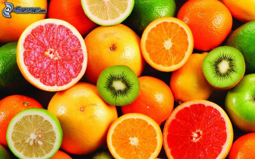 owoc, grejpfrut, pomarańcze, kiwi, cytryny, limetki, zielone jabłko