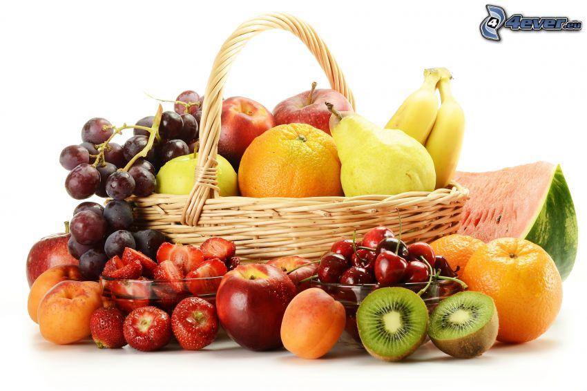 owoc, koszyk, gruszki, pomarańcze, jabłka, winogrona, kiwi, truskawki, brzoskwinie, morele, nektarynki
