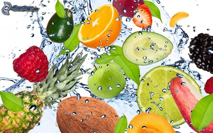 owoc, orzech kokosowy, ananas, jabłko, maliny, awokado, jeżyny, pomarańcz, woda, plusk