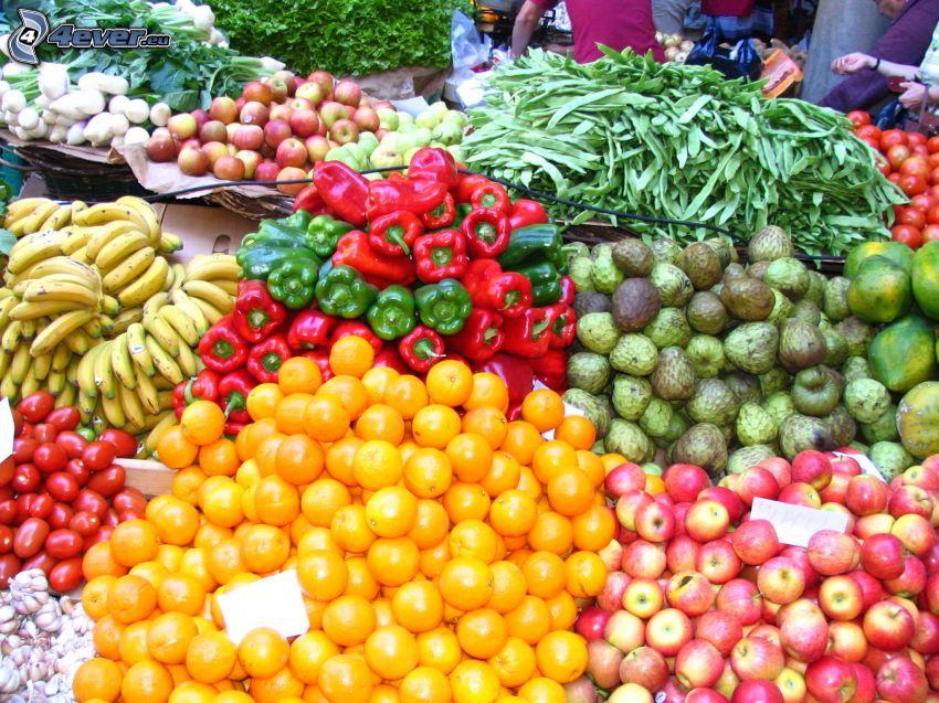 targ, warzywa, owoc, papryki, banany, jabłka, pomarańcze