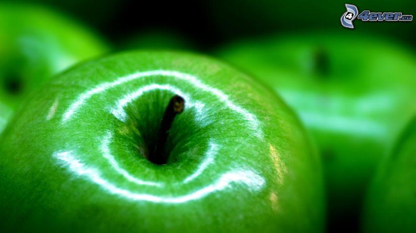 zielone jabłka, makro